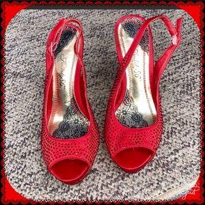 Red rhinestone platform high heels Sz. 8